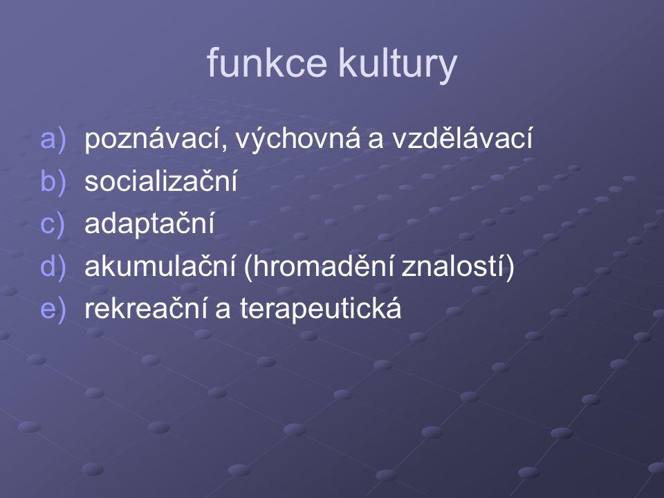 funkce kultury poznávací, výchovná a vzdělávací socializační adaptační