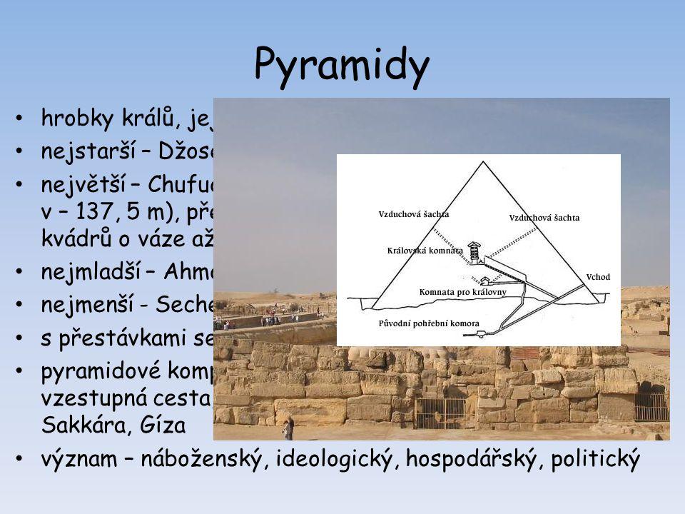 Pyramidy hrobky králů, jejich manželek, významných úředníků