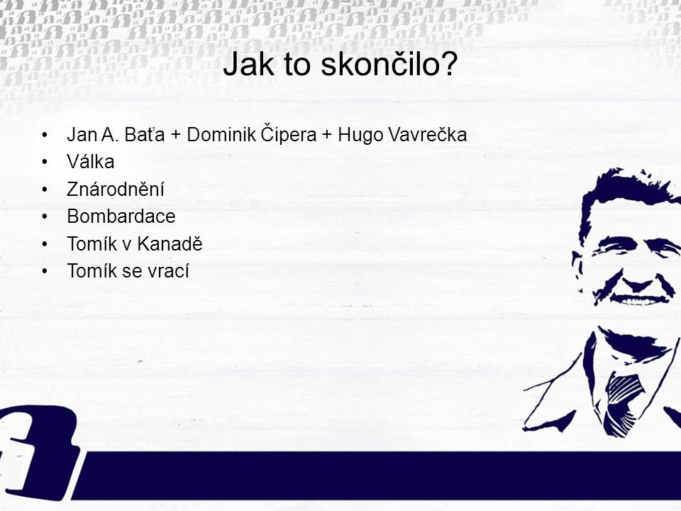 Jak to skončilo Jan A. Baťa + Dominik Čipera + Hugo Vavrečka Válka