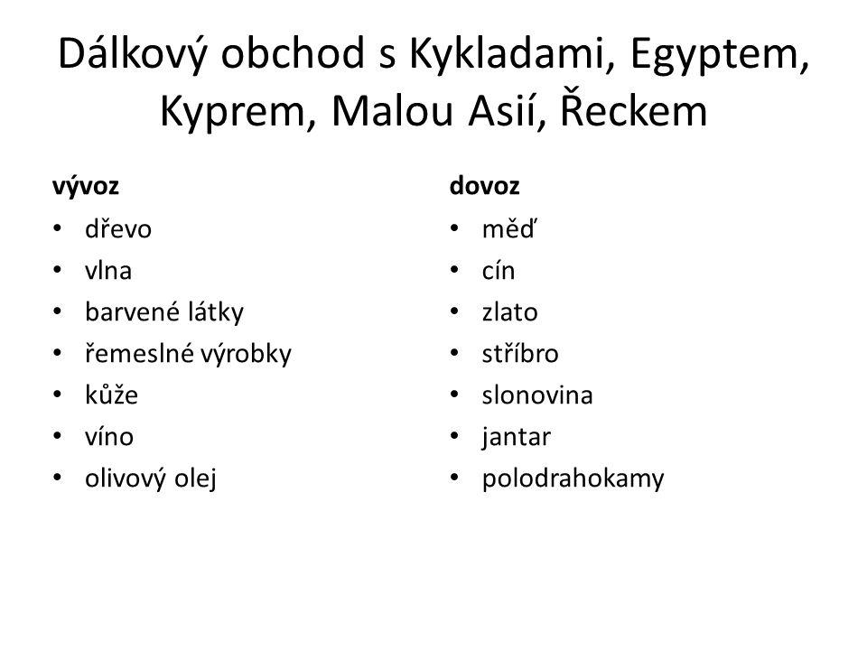 Dálkový obchod s Kykladami, Egyptem, Kyprem, Malou Asií, Řeckem