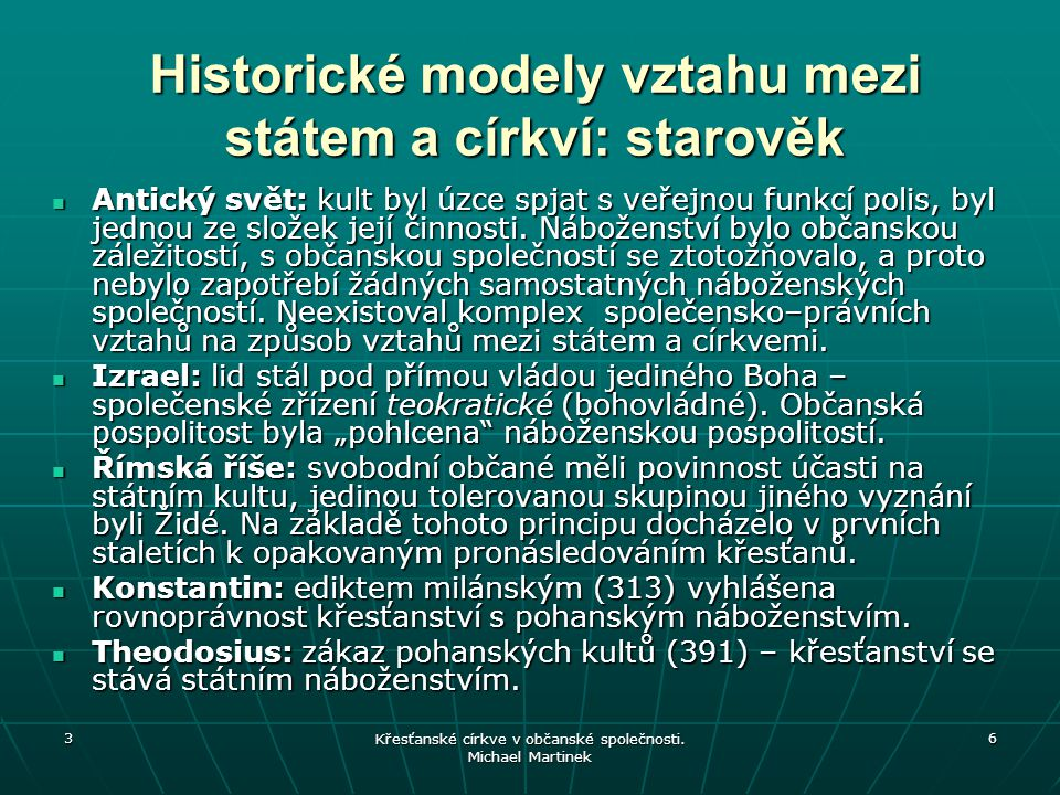 Historické modely vztahu mezi státem a církví: starověk