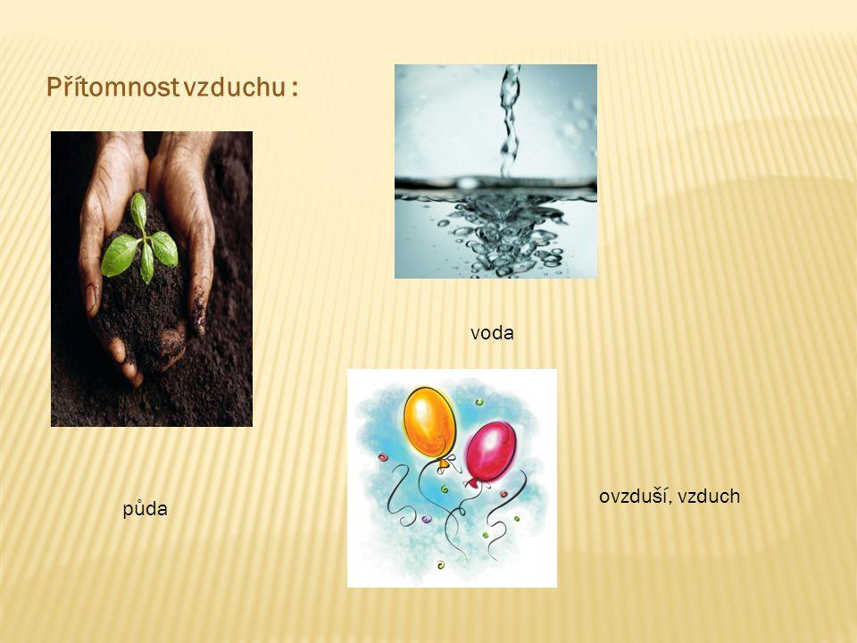 Přítomnost vzduchu : voda ovzduší, vzduch půda