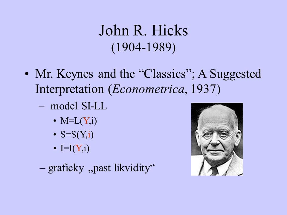 John R. Hicks (1904-1989) Mr. Keynes and the Classics ; A Suggested Interpretation (Econometrica, 1937)