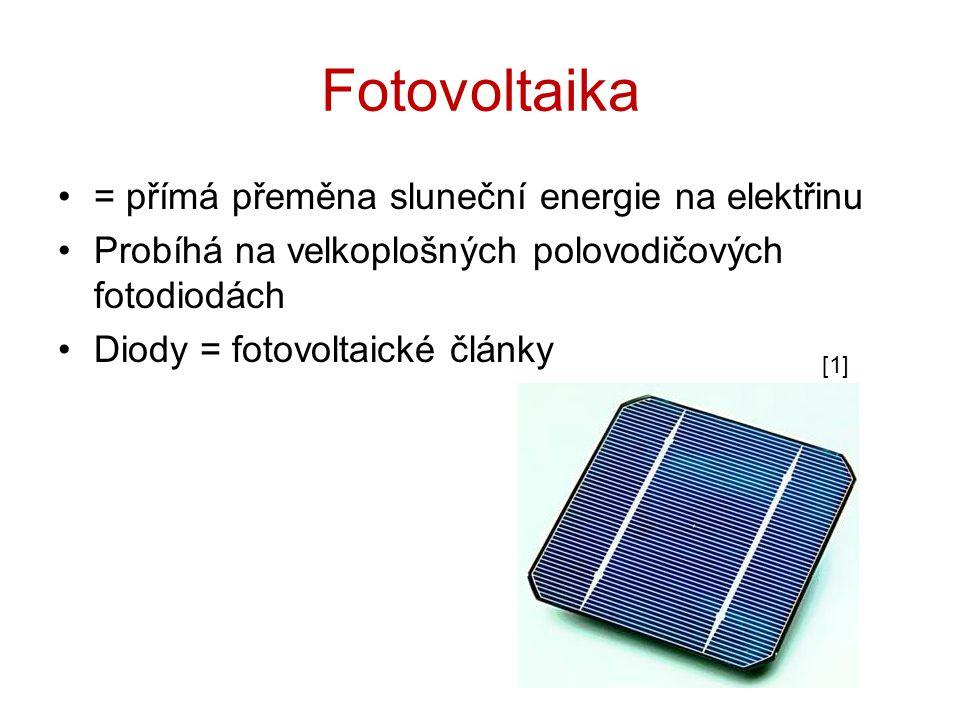 Fotovoltaika = přímá přeměna sluneční energie na elektřinu