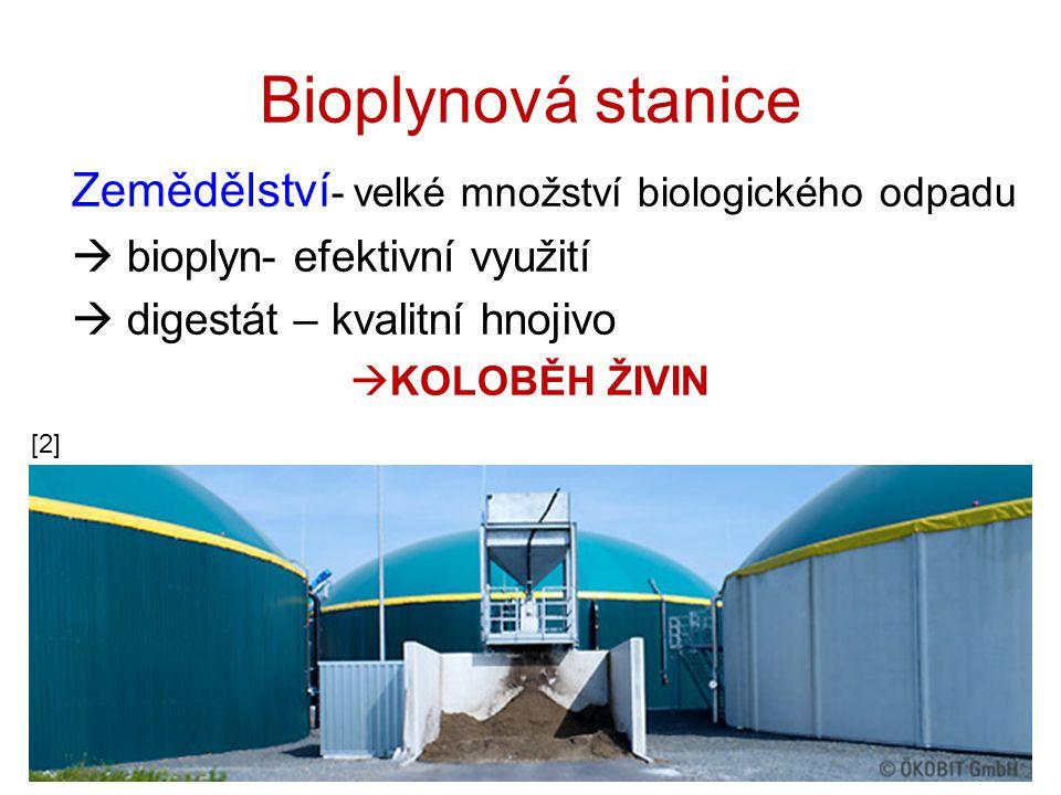 Bioplynová stanice Zemědělství- velké množství biologického odpadu