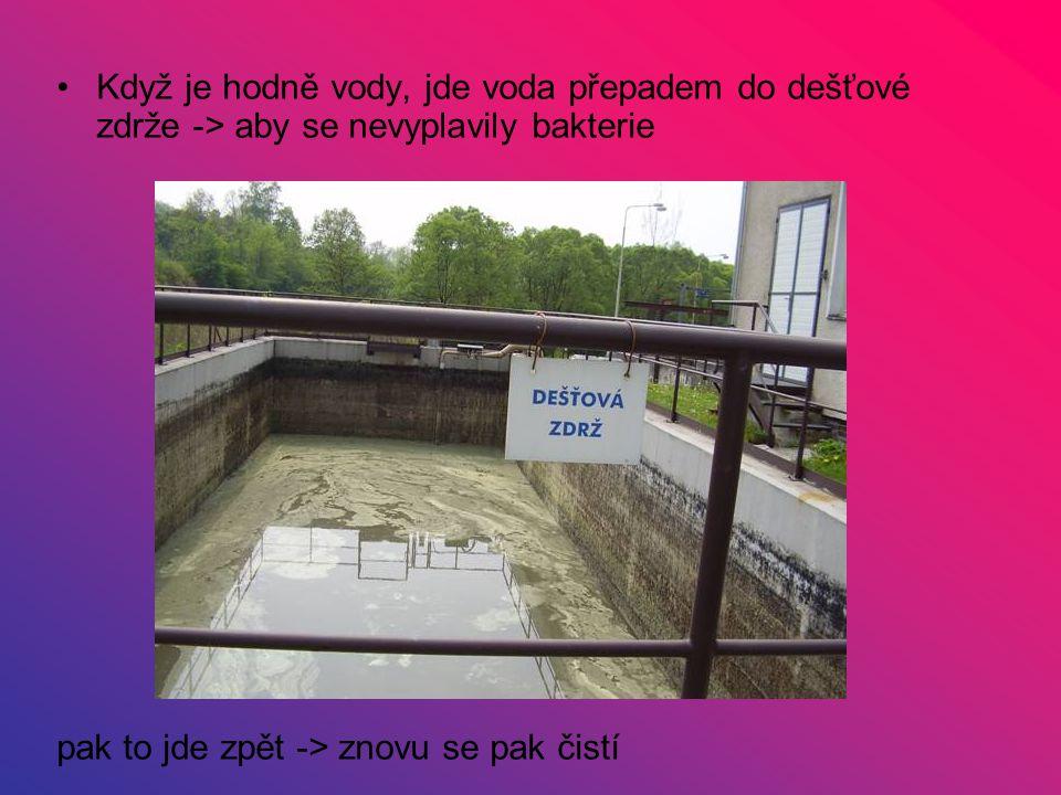 Když je hodně vody, jde voda přepadem do dešťové zdrže -> aby se nevyplavily bakterie