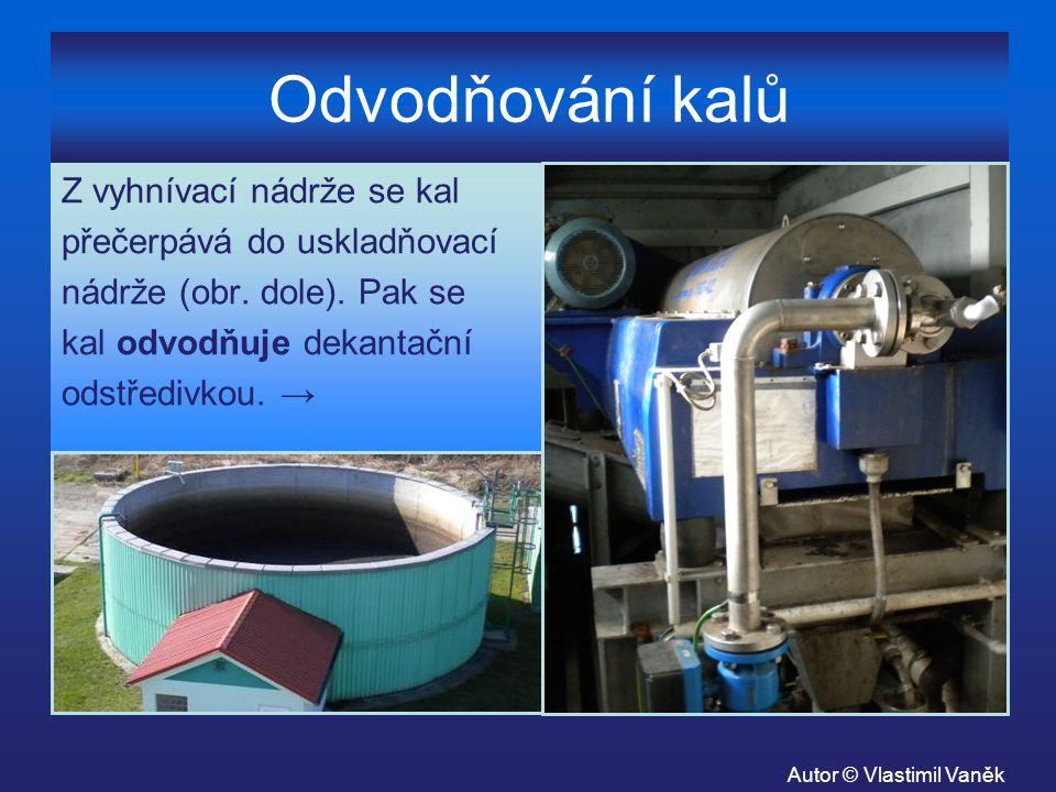Odvodňování kalů Z vyhnívací nádrže se kal přečerpává do uskladňovací