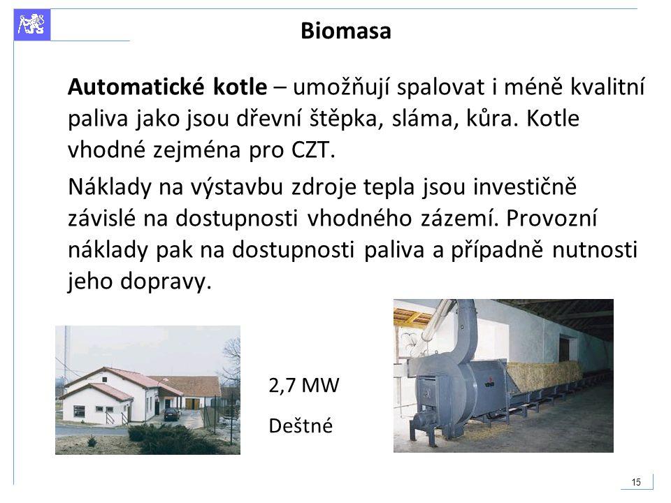 Biomasa Automatické kotle – umožňují spalovat i méně kvalitní paliva jako jsou dřevní štěpka, sláma, kůra. Kotle vhodné zejména pro CZT.