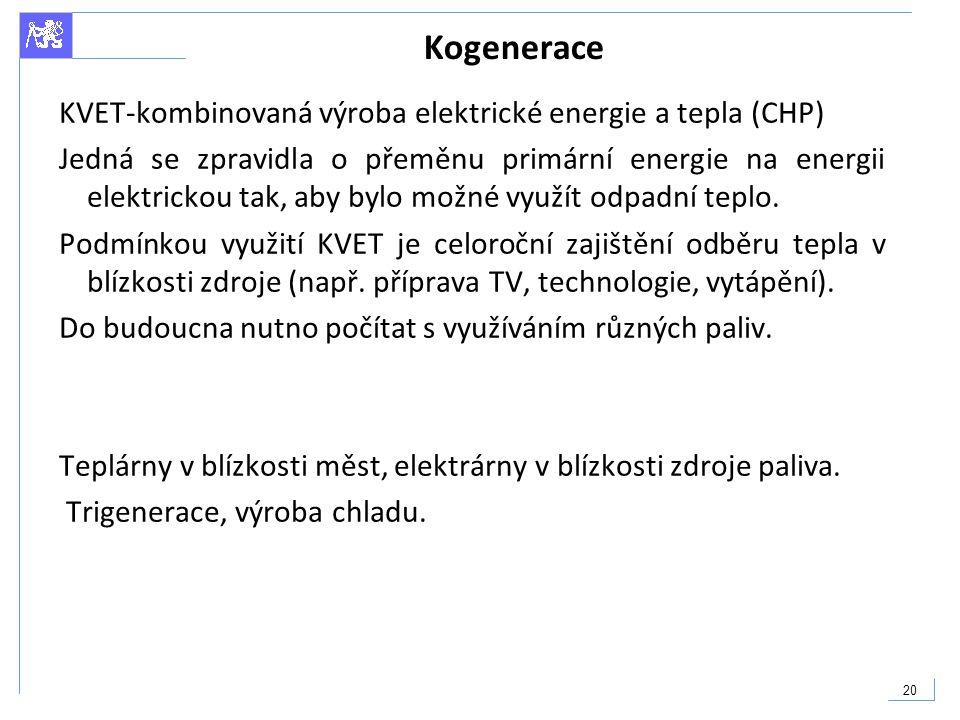 Kogenerace KVET-kombinovaná výroba elektrické energie a tepla (CHP)