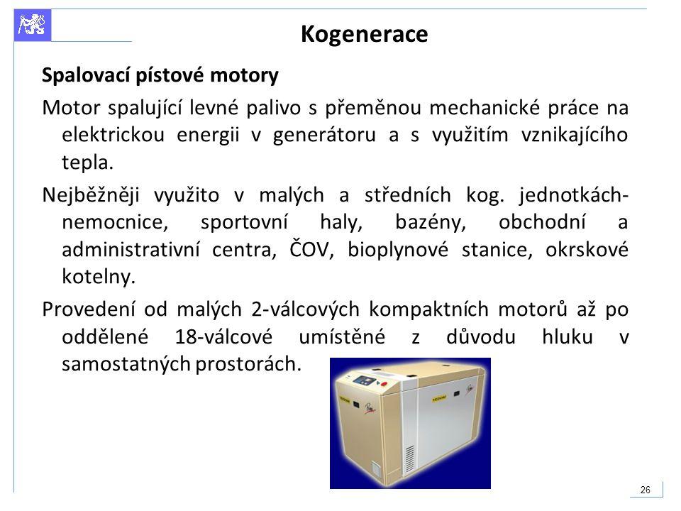 Kogenerace Spalovací pístové motory