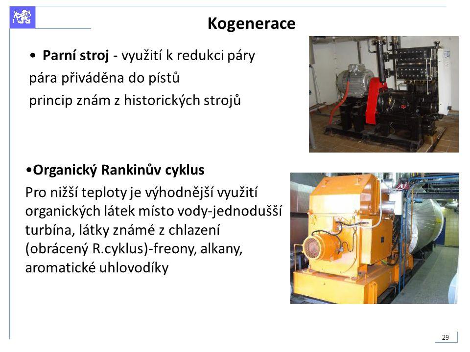 Kogenerace Parní stroj - využití k redukci páry