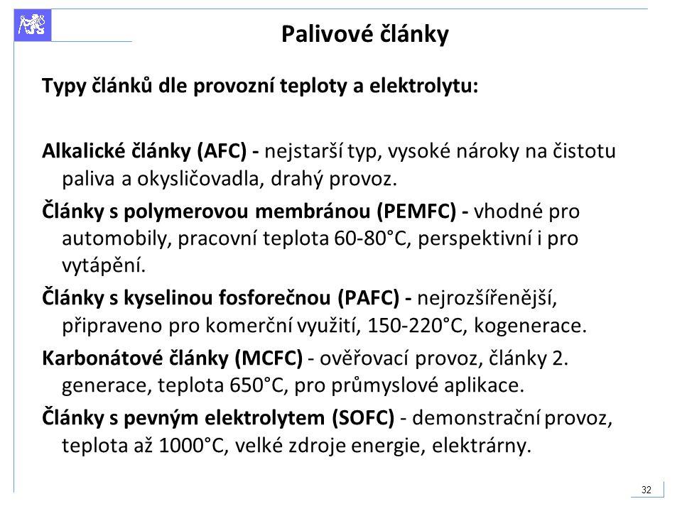 Palivové články Typy článků dle provozní teploty a elektrolytu: