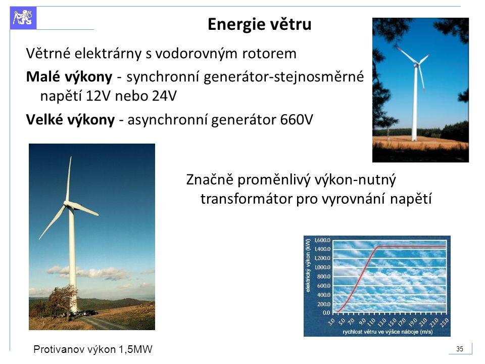 Energie větru Větrné elektrárny s vodorovným rotorem