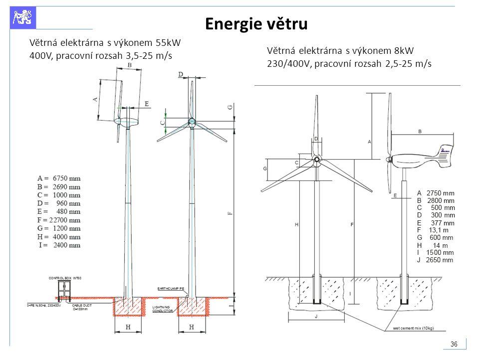 Energie větru Větrná elektrárna s výkonem 55kW