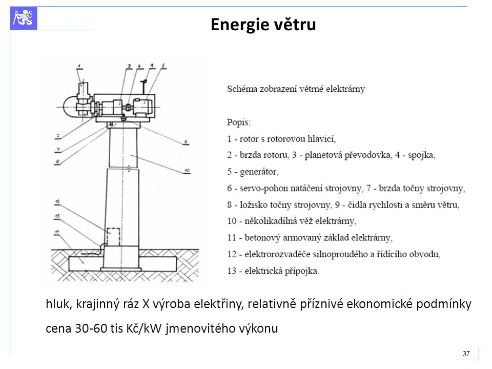 Energie větru V ČR běžně 1000h/a, ve zvláště větrnných oblastech až 2000h/a provozní doba.