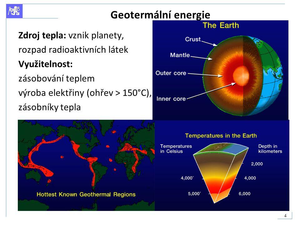 Geotermální energie Zdroj tepla: vznik planety,