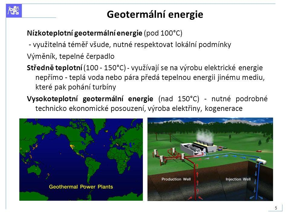 Geotermální energie Nízkoteplotní geotermální energie (pod 100°C)