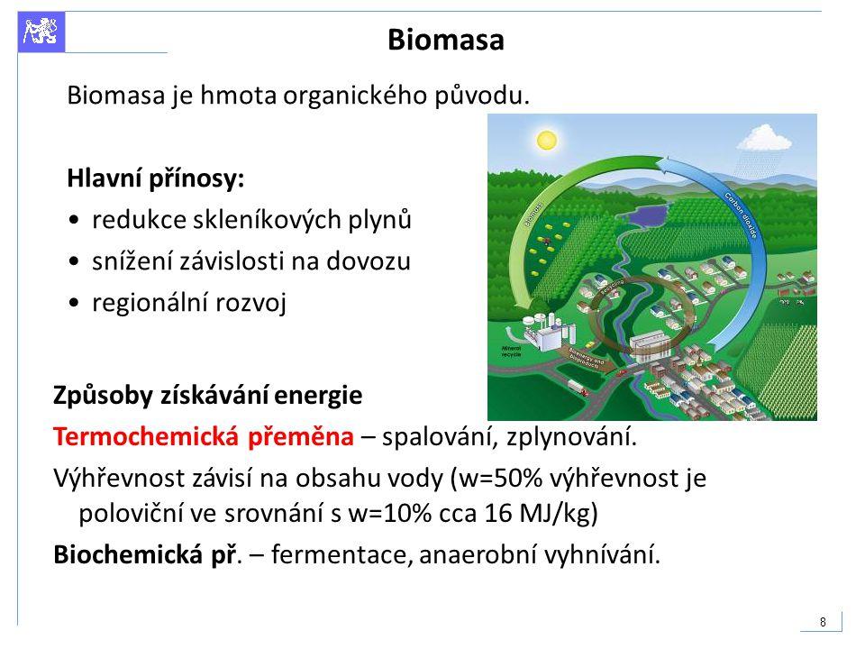 Biomasa Biomasa je hmota organického původu. Hlavní přínosy: