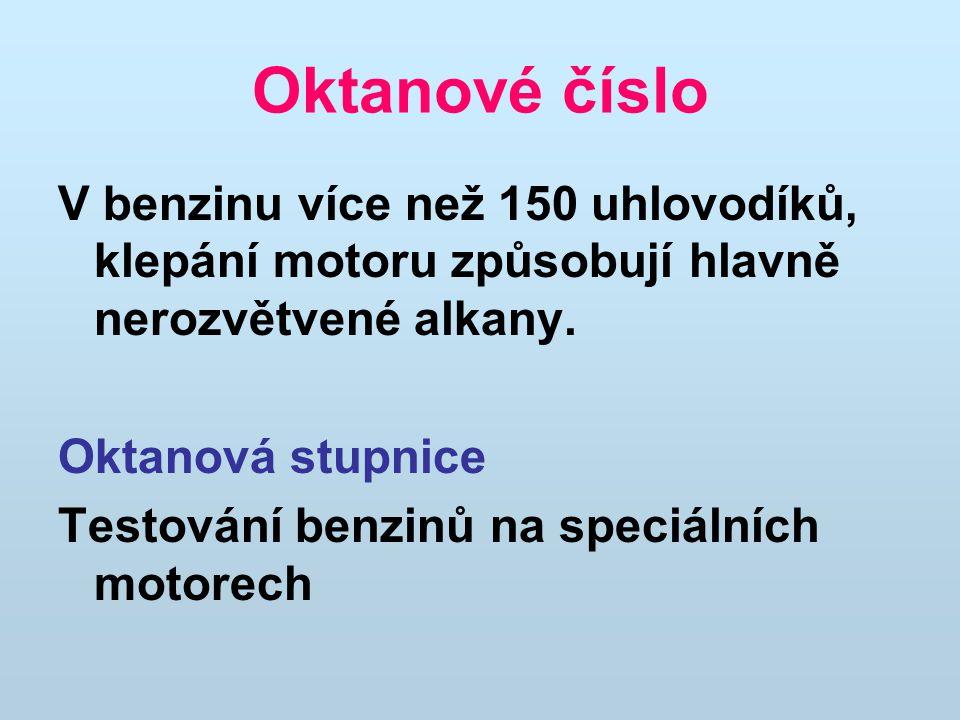 Oktanové číslo V benzinu více než 150 uhlovodíků, klepání motoru způsobují hlavně nerozvětvené alkany.