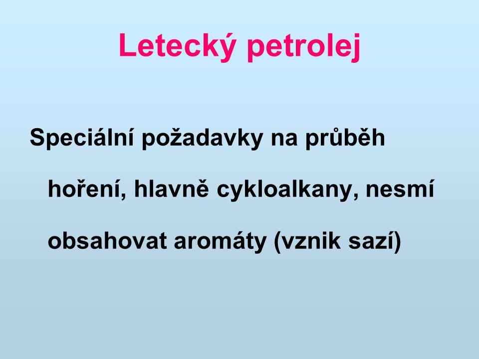 Letecký petrolej Speciální požadavky na průběh hoření, hlavně cykloalkany, nesmí obsahovat aromáty (vznik sazí)