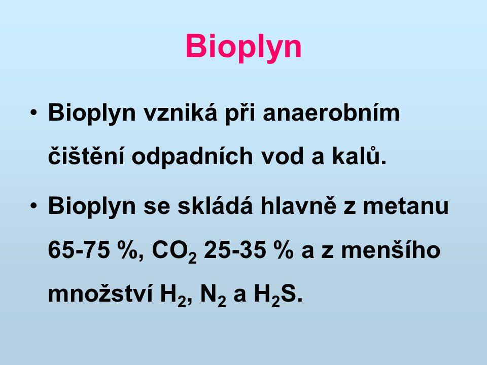 Bioplyn Bioplyn vzniká při anaerobním čištění odpadních vod a kalů.