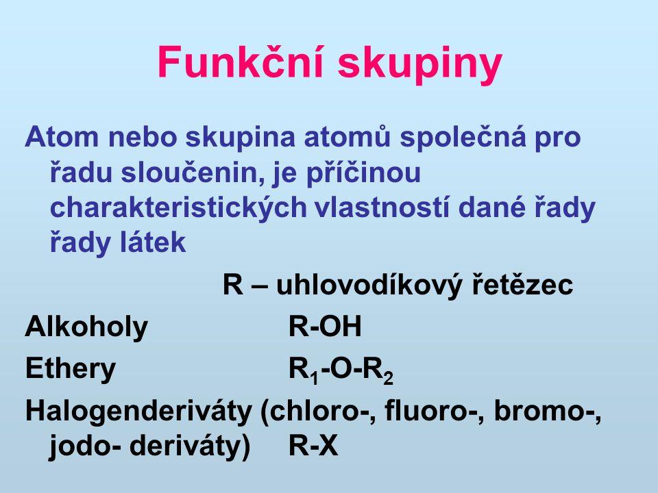 Funkční skupiny Atom nebo skupina atomů společná pro řadu sloučenin, je příčinou charakteristických vlastností dané řady řady látek.