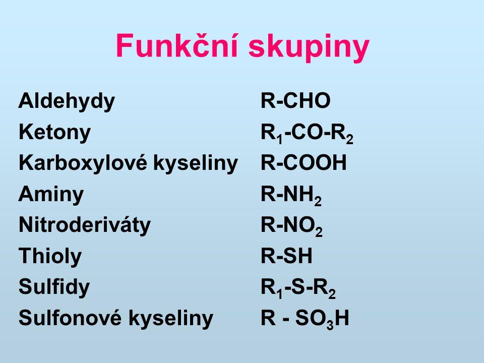 Funkční skupiny Aldehydy R-CHO Ketony R1-CO-R2