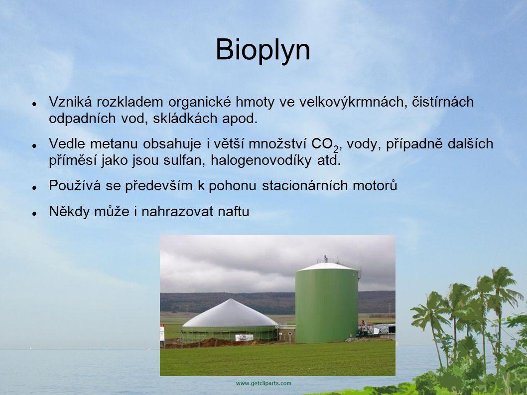Bioplyn Vzniká rozkladem organické hmoty ve velkovýkrmnách, čistírnách odpadních vod, skládkách apod.