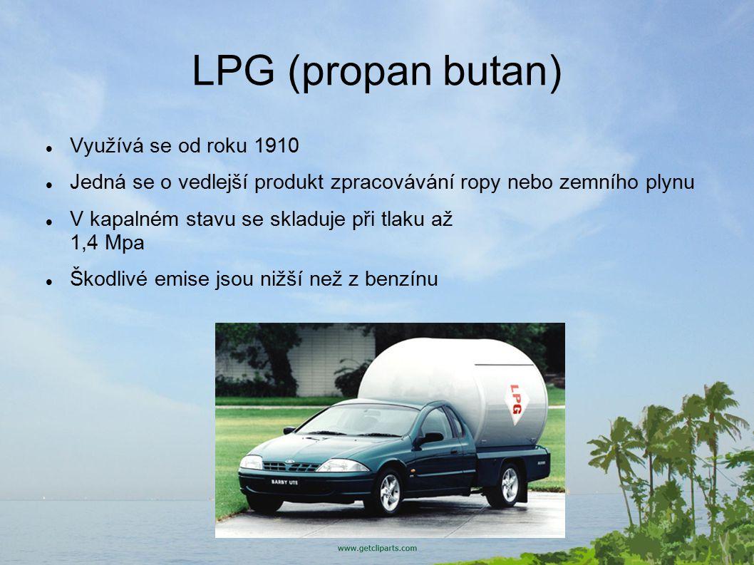 LPG (propan butan) Využívá se od roku 1910
