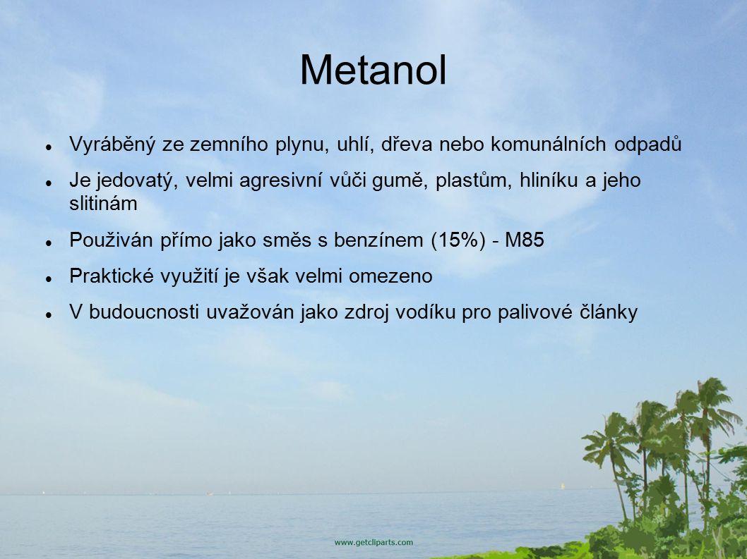 Metanol Vyráběný ze zemního plynu, uhlí, dřeva nebo komunálních odpadů