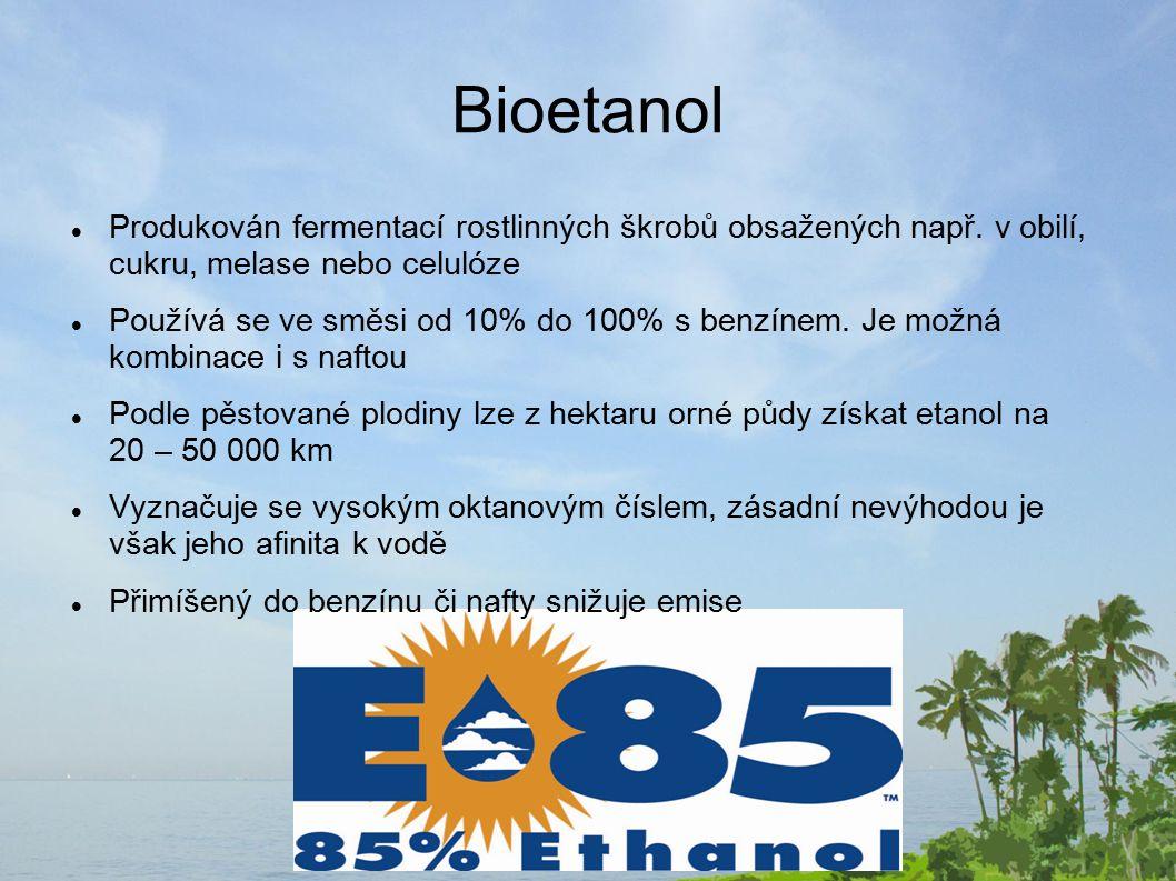 Bioetanol Produkován fermentací rostlinných škrobů obsažených např. v obilí, cukru, melase nebo celulóze.