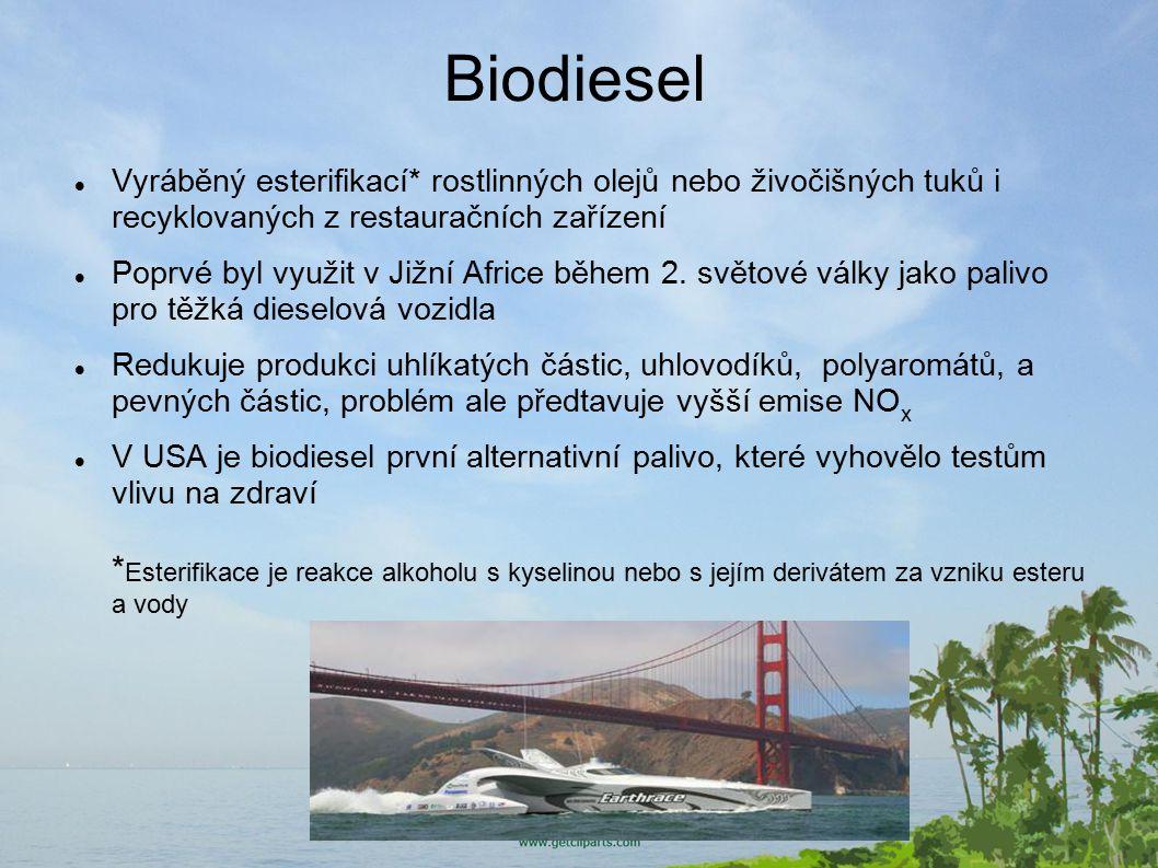 Biodiesel Vyráběný esterifikací* rostlinných olejů nebo živočišných tuků i recyklovaných z restauračních zařízení.