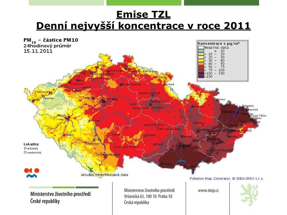 Emise TZL Denní nejvyšší koncentrace v roce 2011 15. listopadu 2011
