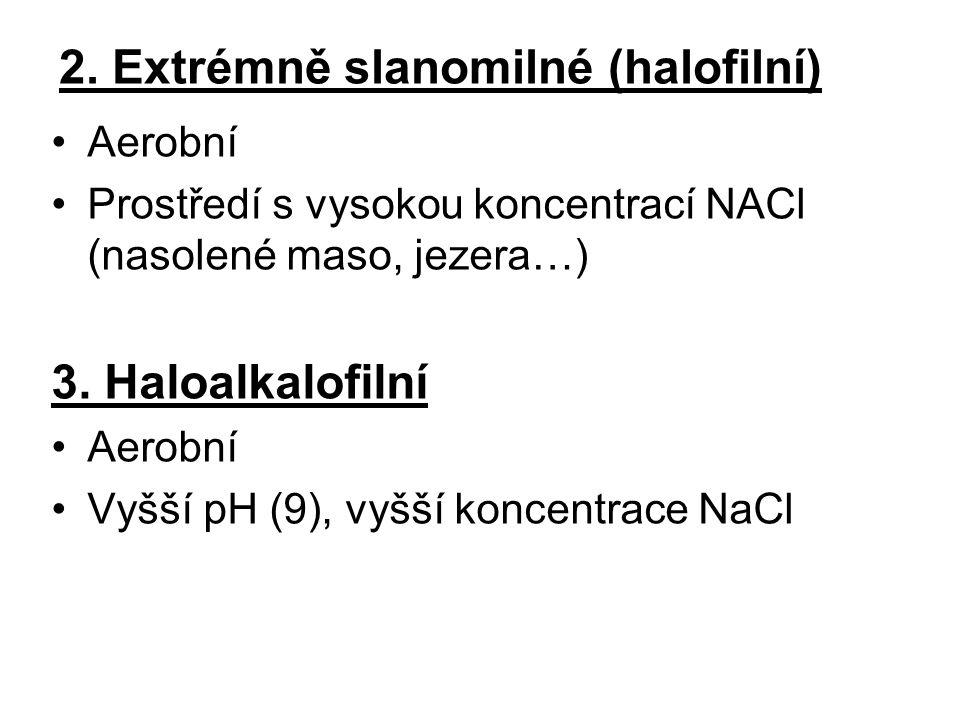 2. Extrémně slanomilné (halofilní)