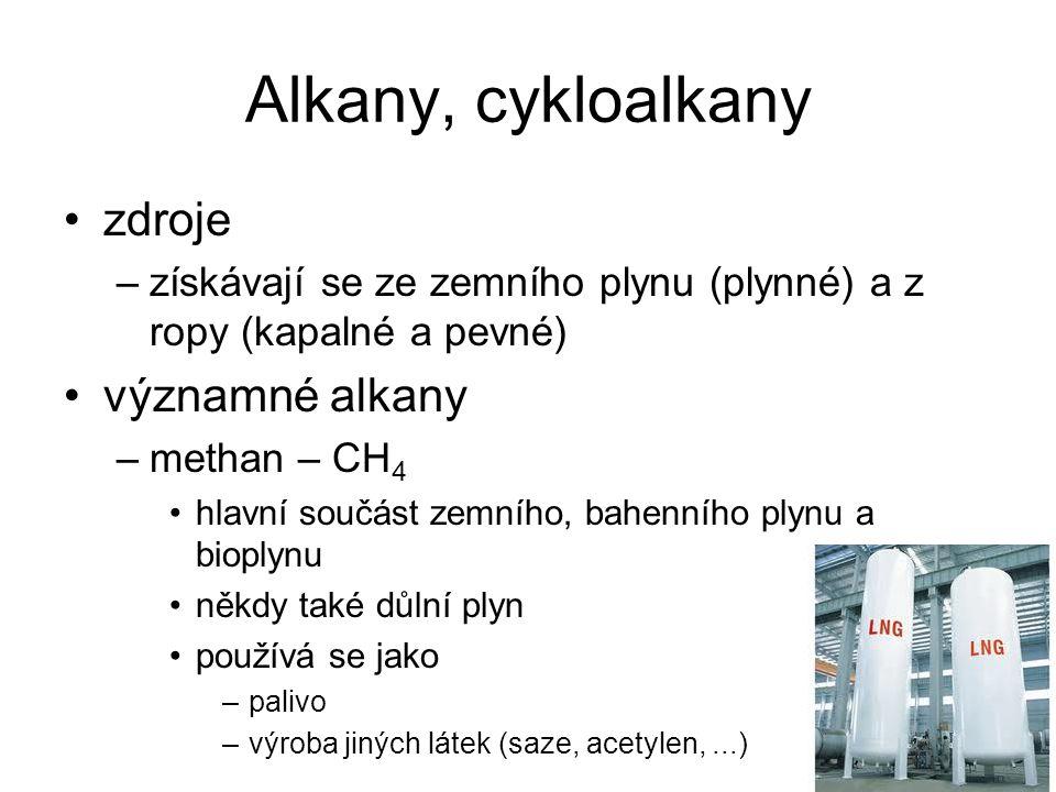 Alkany, cykloalkany zdroje významné alkany