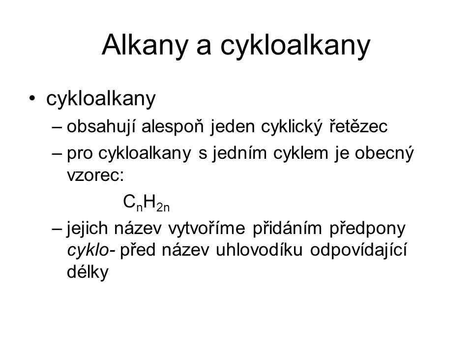 Alkany a cykloalkany cykloalkany