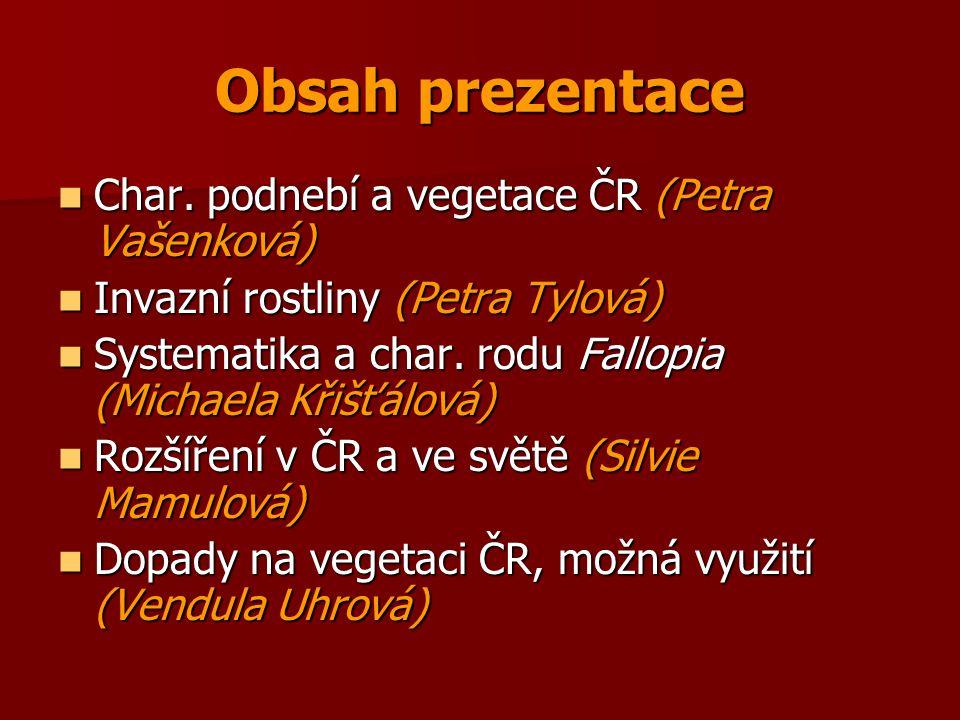 Obsah prezentace Char. podnebí a vegetace ČR (Petra Vašenková)