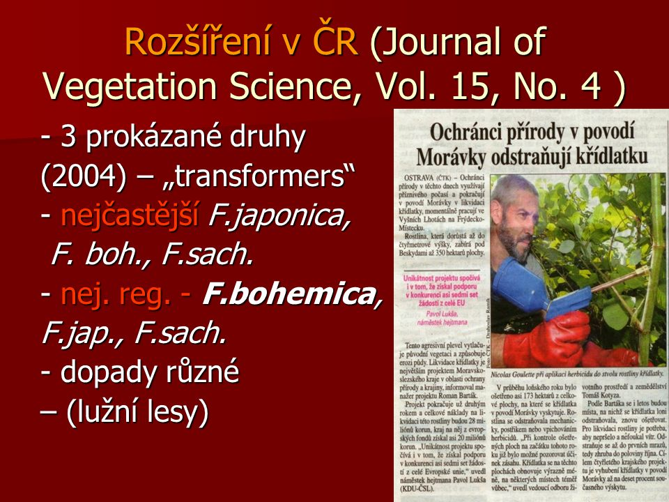 Rozšíření v ČR (Journal of Vegetation Science, Vol. 15, No. 4 )