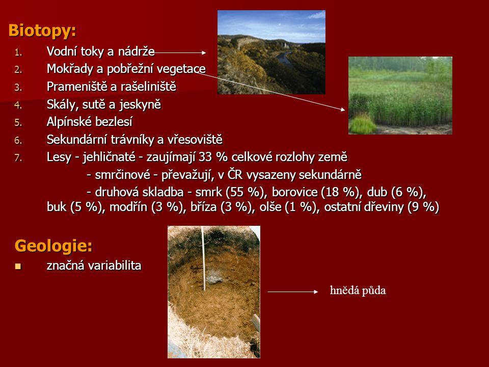 Biotopy: Geologie: Vodní toky a nádrže Mokřady a pobřežní vegetace
