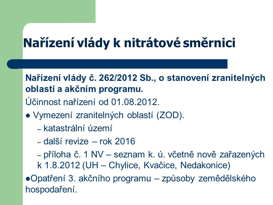 Nařízení vlády k nitrátové směrnici