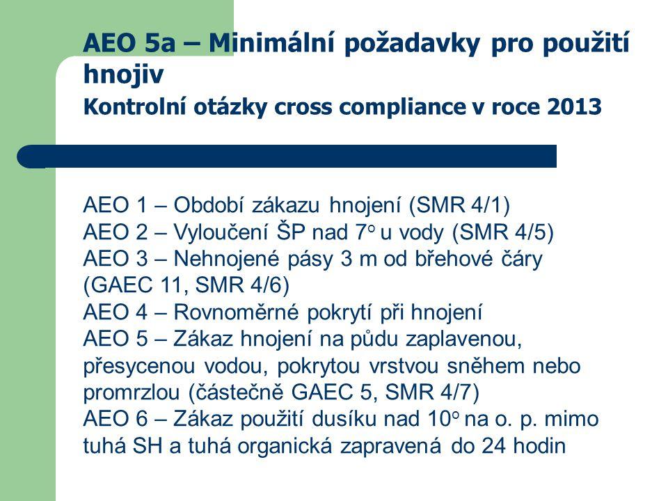 AEO 5a – Minimální požadavky pro použití hnojiv Kontrolní otázky cross compliance v roce 2013