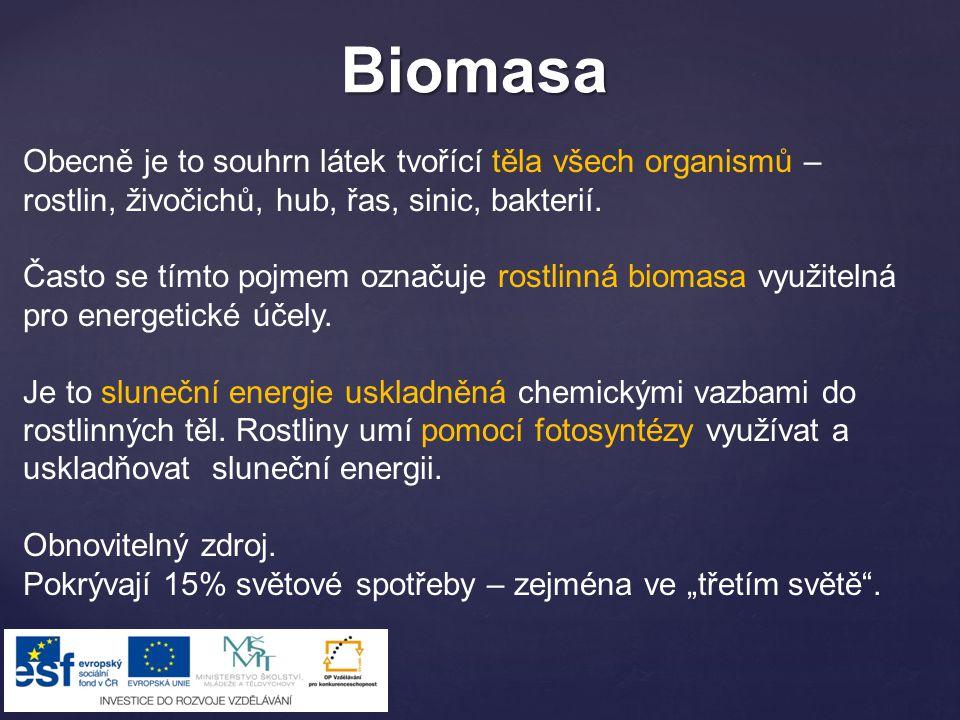 Biomasa Obecně je to souhrn látek tvořící těla všech organismů – rostlin, živočichů, hub, řas, sinic, bakterií.