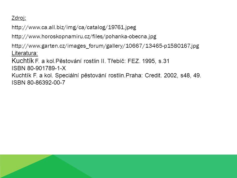 Kuchtík F. a kol.Pěstování rostlin II. Třebíč: FEZ. 1995, s.31