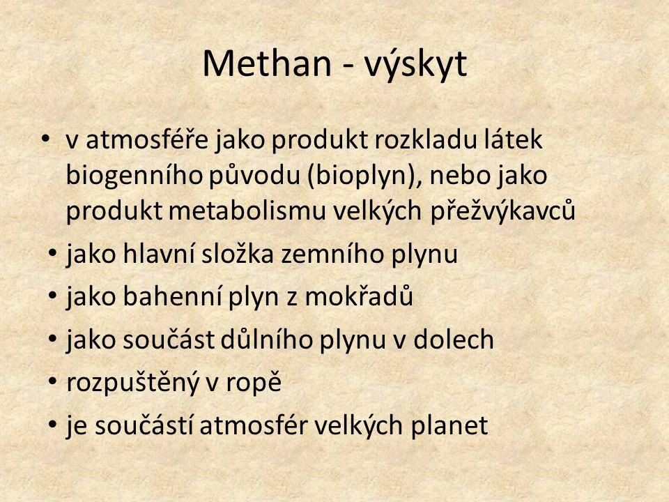 Methan - výskyt v atmosféře jako produkt rozkladu látek biogenního původu (bioplyn), nebo jako produkt metabolismu velkých přežvýkavců.