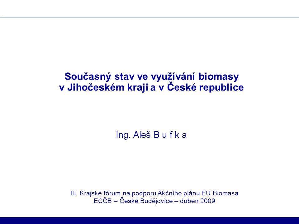 Současný stav ve využívání biomasy v Jihočeském kraji a v České republice