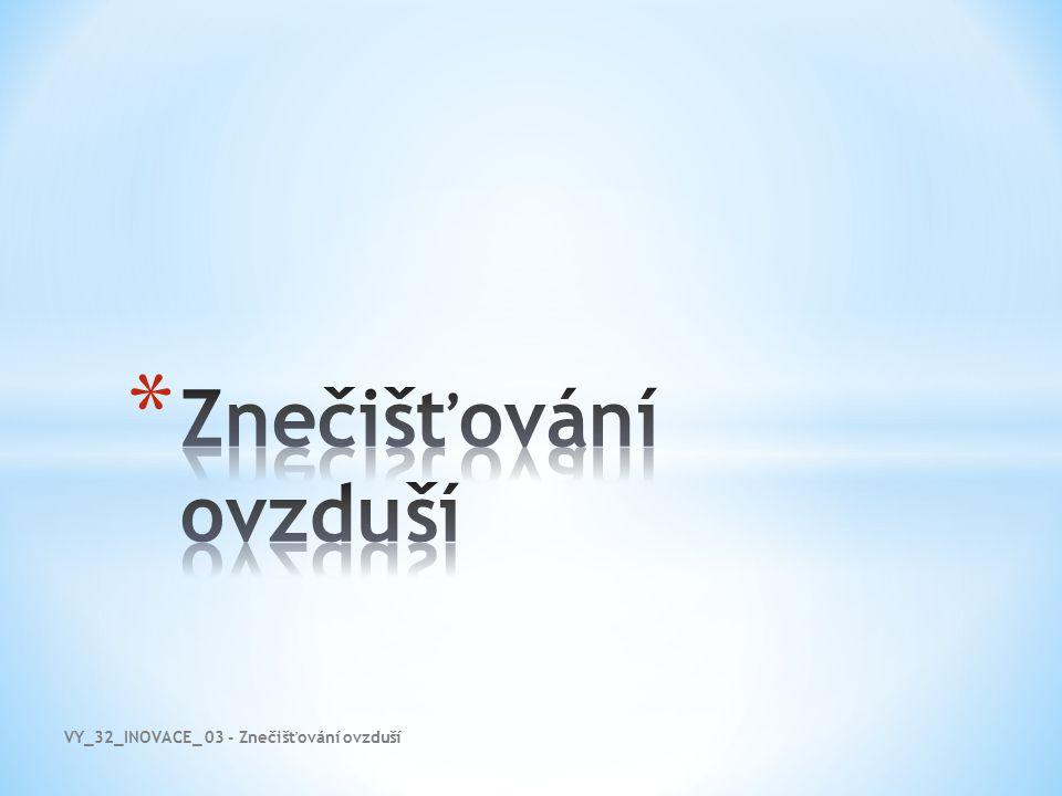 Znečišťování ovzduší VY_32_INOVACE_ 03 - Znečišťování ovzduší