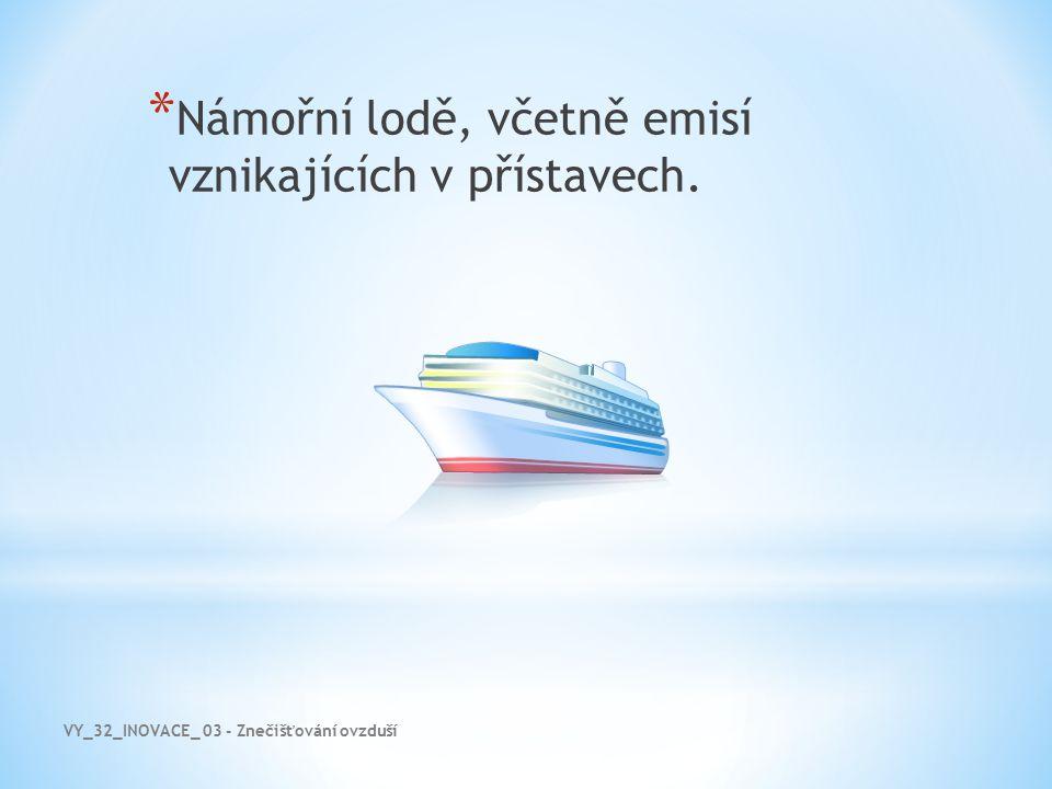 Námořní lodě, včetně emisí vznikajících v přístavech.