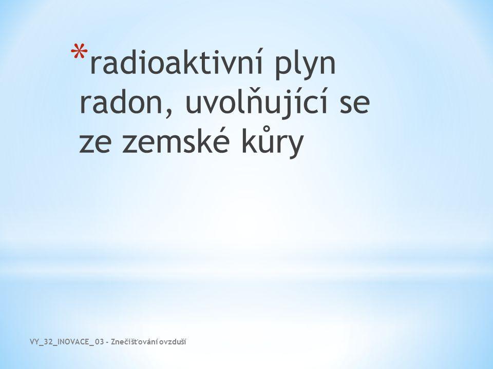 radioaktivní plyn radon, uvolňující se ze zemské kůry
