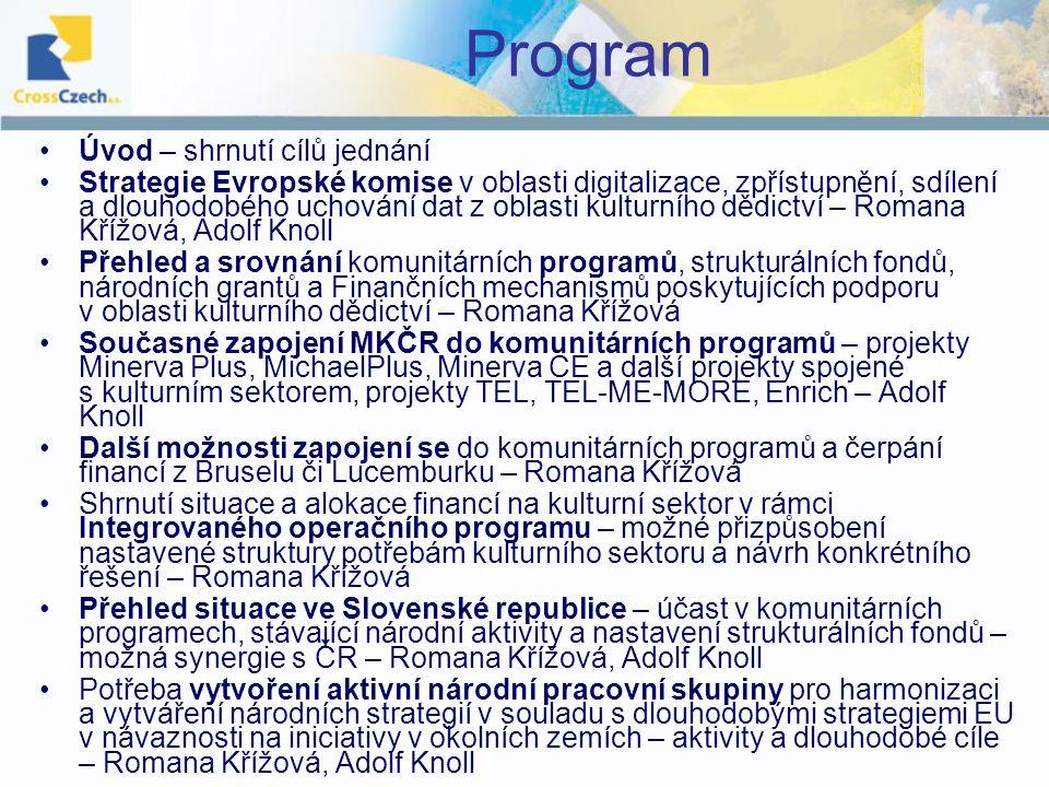 Program Úvod – shrnutí cílů jednání