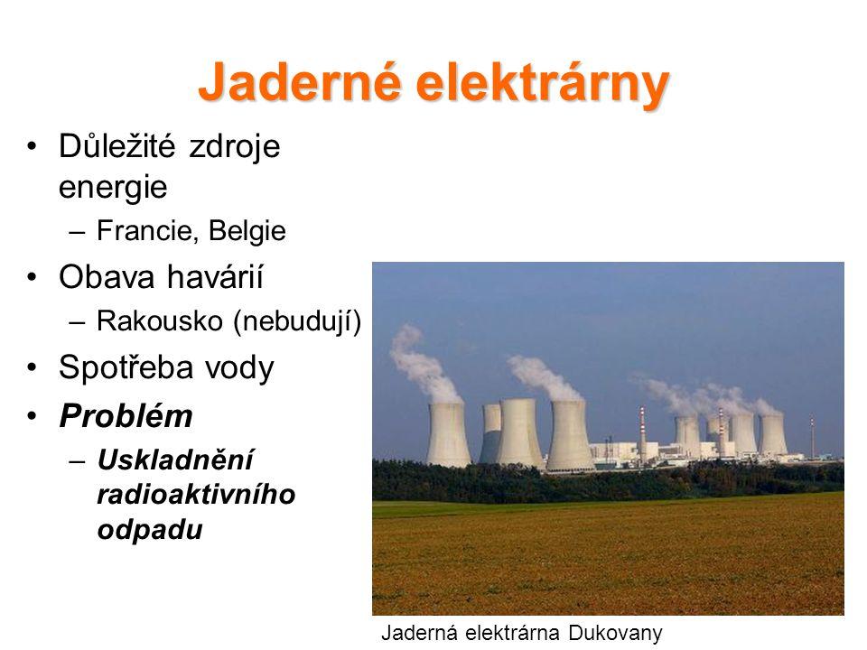 Jaderné elektrárny Důležité zdroje energie Obava havárií Spotřeba vody